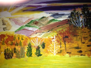 Painting of a hillside with trees